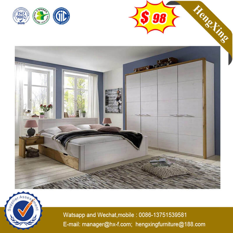Light Grey White Wooden Home Use Daily Bedroom Furniture Set Customized Bed With Side Drawers