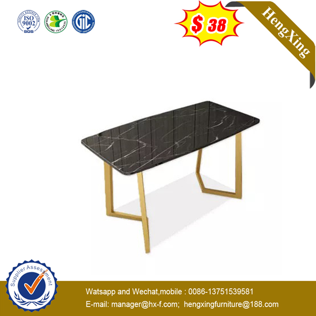 Factory Gold Stainless Steel Mirror Glass Top Rectangle DiningTable for Banquet Wedding