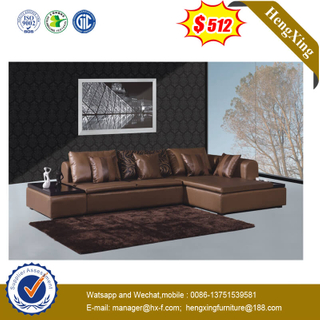 Luxury Brown Indoor Leather Sofa Home Sofa Bed Set With Corner Table