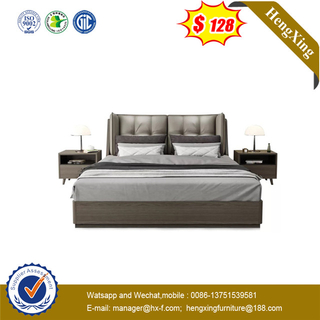 Foshan Factory King size MDF Bedroom hotel wooden bed