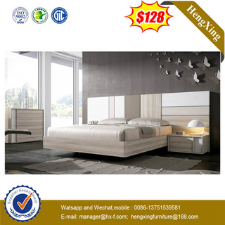 Luxury Modern Design Customized High Head Board Wooden King Size Hotel Bedroom Furniture Bed