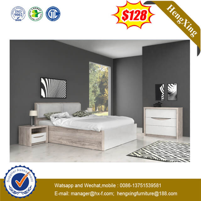 Modern Thickened Grey Fabric Backrest Home Houseroom Storage Bed And Side Cabinet