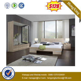 Living Room Home Hotel 4 Doors Glass Mirror Wardrobe Bedroom Furniure Set