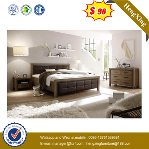 Brown Leather Backrest Wooden Frame Classical Modern Bedroom Furniture With Double Bed