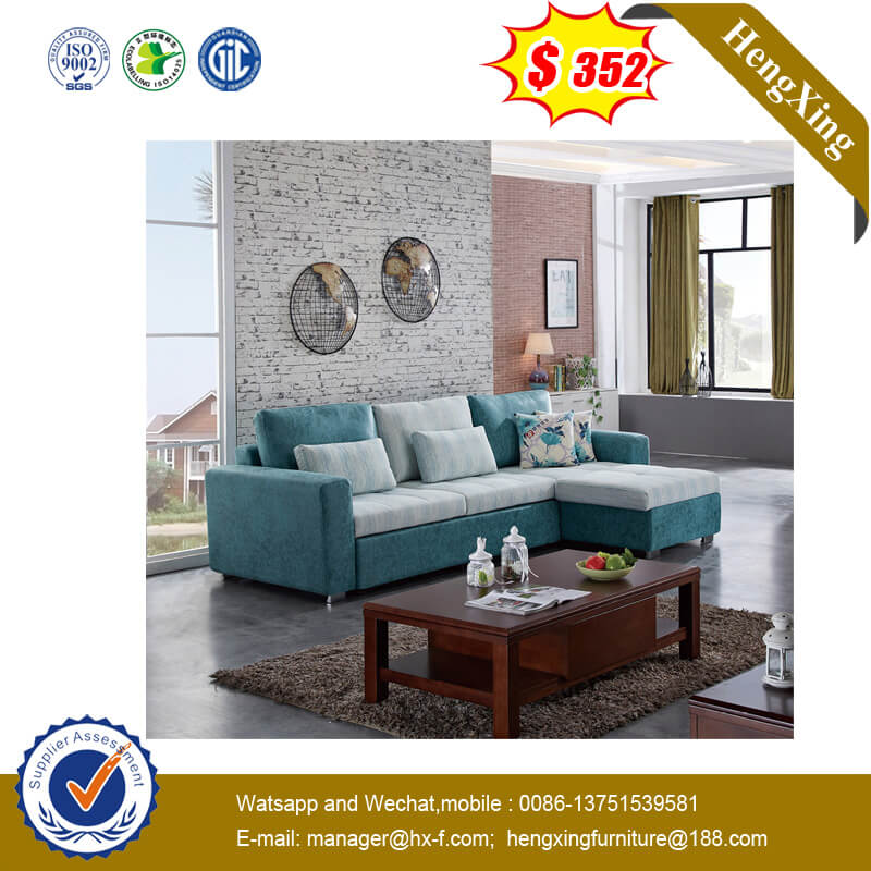 Chinese Grey L Shaped Solid Wood Frame Furniture Fabric Livingroom Sofa