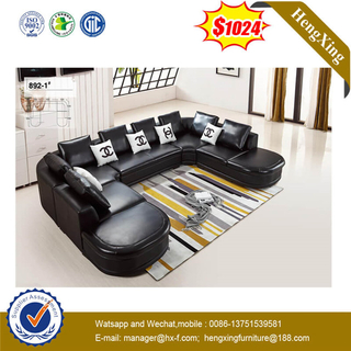 Black U Shape Leather Sofa Germany Big Size Living Room Leisure Leather Sofa With Pillow