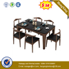 Chinese Furniture Italian Wooden Top Solid Wood Leg Dining Table with metal fabric chair