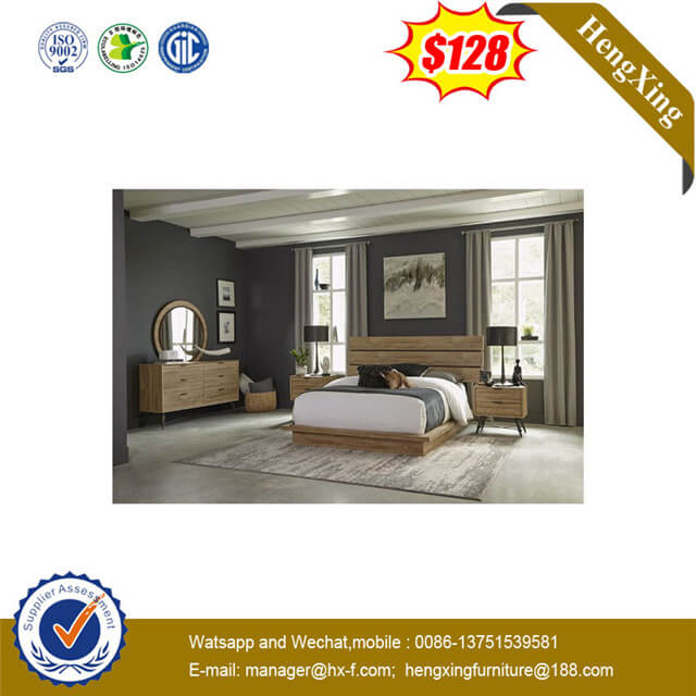 4 Doors Mirror Wardrobe Hotel Home Daily Bedroom Furniture Set With Night Table