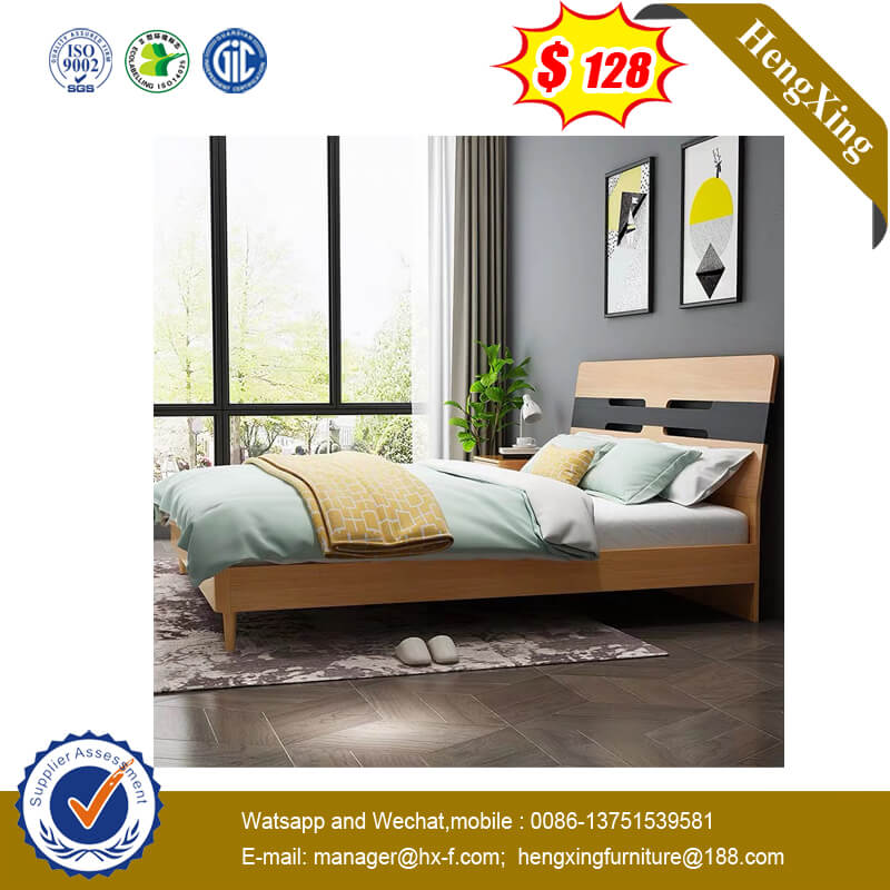 King Size Solid Wooden Bedroom Simple Design Apartment Double Bed With Metal Legs