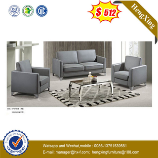 Grey Modern Europe Italy Style Leather Hotel Project 1+3+1 Set Office Living Room Sofa With Metal Legs