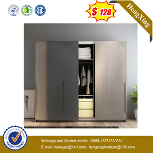 High Quality Flush Sliding Door Wooden Grey Wardrobe