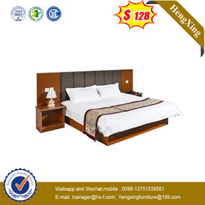 Latest Wood PU Leather King Hotel Bedroom Furniture Set Double Beds