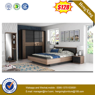 High Quality Hotel Double Bed Design Furniture in Leather Backrest