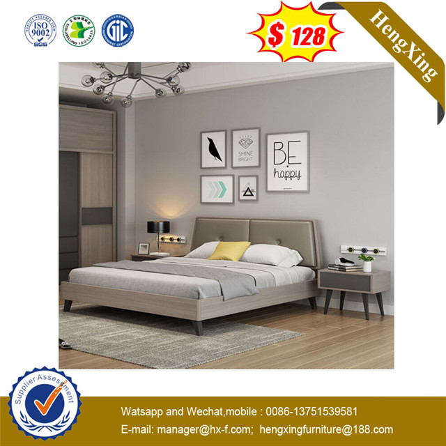 Grey Color Home Furniture Hotel Use Mdf Double Size Bedroom Furniture