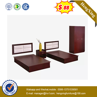 New Design Wooden Leather King Home Hotel Bedroom Furniture Sets Simple Bed