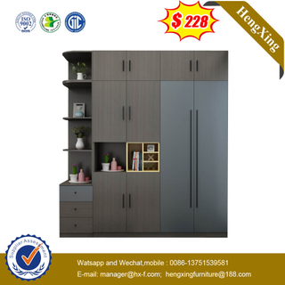 Dark Color Wooden Cornet Wardrobe Closet With Side Cabinet For Home Hotel Use