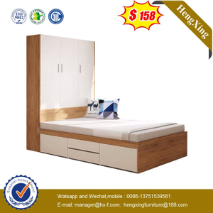 Modern Hotel Bedroom Home Children Wooden wardrobe Sets Furniture Single Kids Size Bed with bookshelf