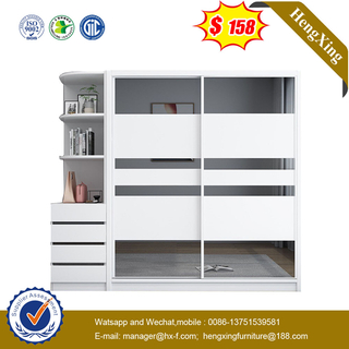 Fashion 4 Push Doors Home Living Room Bedroom Furniture Wooden Cabinet Wardrobe