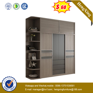 Simple Modern Grey Color Combination Wooden Wardrobe Home Furniture Set