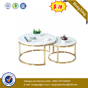 High Quality Wood Round Coffee Table Set with Stainless Steel Legs