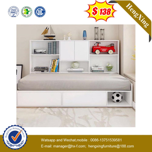 White color Wood factory Kids Bookcase Children Bunk single baby Bed home Bedroom Furniture Set