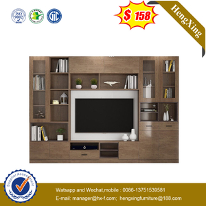 Foshan Customize Modern Living Room Furniture Set Wood TV Stand Cabinet with Wall Cabinets Background