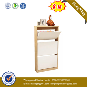 Simple Space Saving Wood 3 Shelf Shoe Storage Cabinet Living Shoes Rack for Home