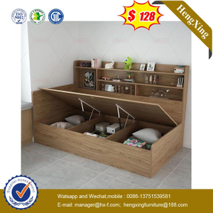 Modern home school Bedroom Children Furniture Kids Wood Bookcase Single Beds with drawer cabinets
