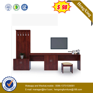 ​Classical Style Red Wooden Cabinet King Size Hotel Bedroom TV Stands Furniture Set