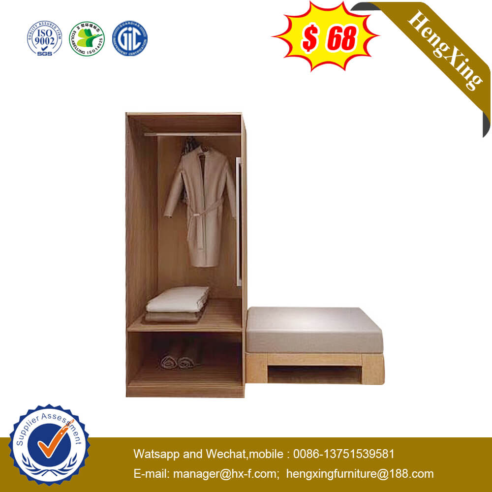 Simple 3-Star Hotel Home Bedroom Closet Furniture Solid Wood Wardrobe Cabinet With Shelf